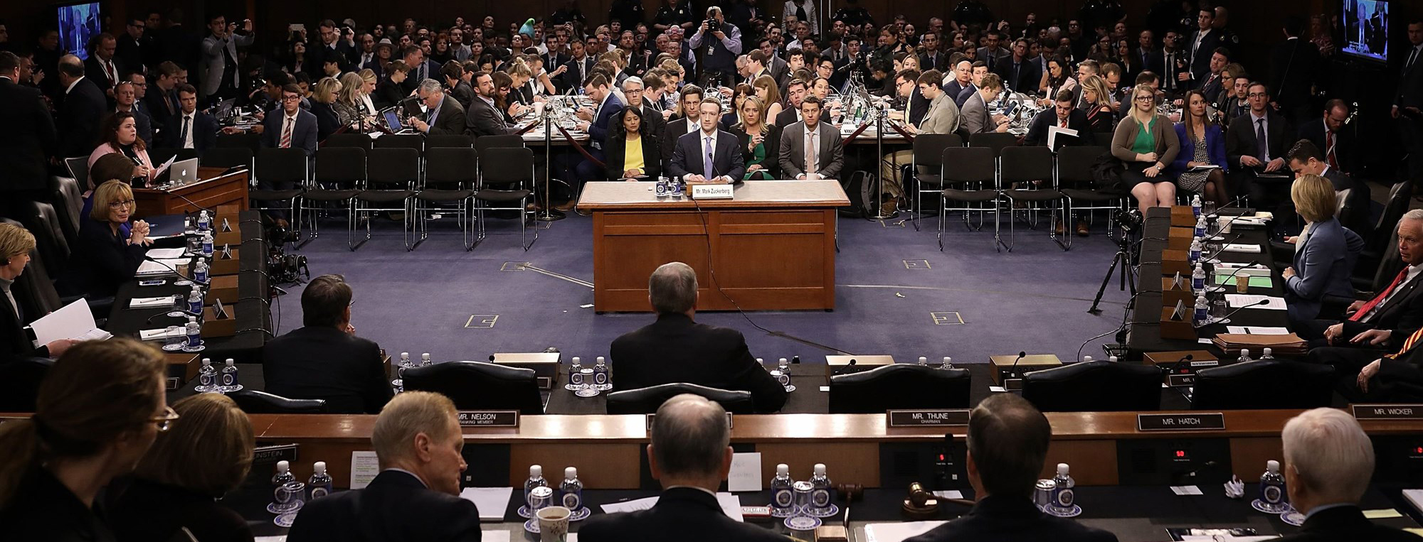 Facebook founder Mark Zuckerberg testifies before Congress on April 10, 2018.